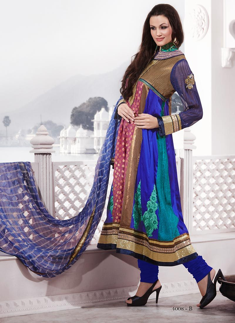 Multicolored Churidar Suit