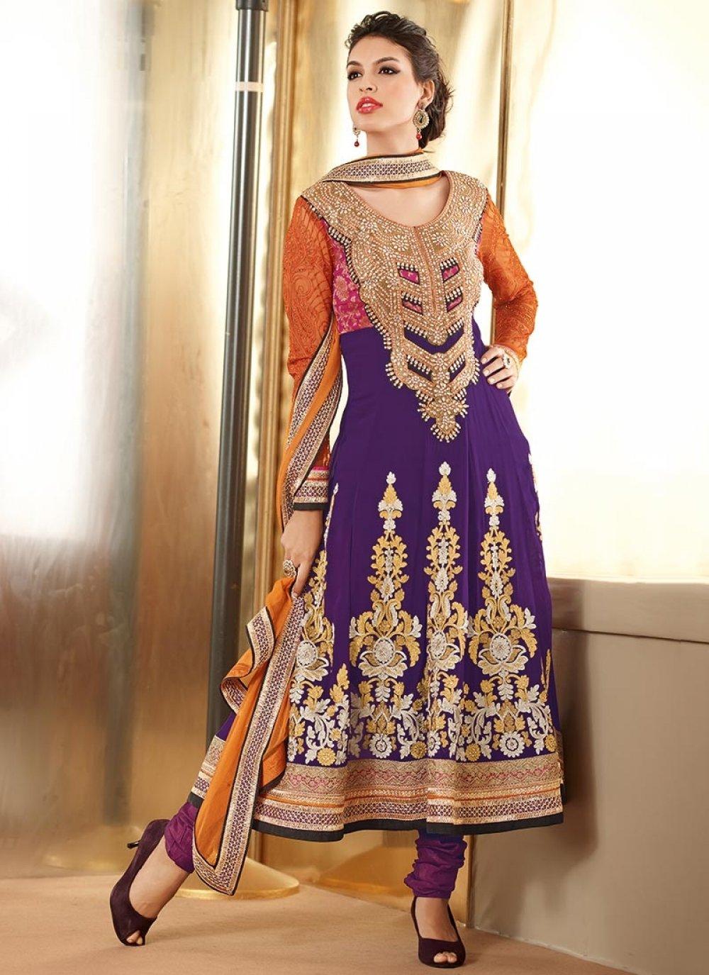 Purple Faux Georgette Designer Churidar Suit