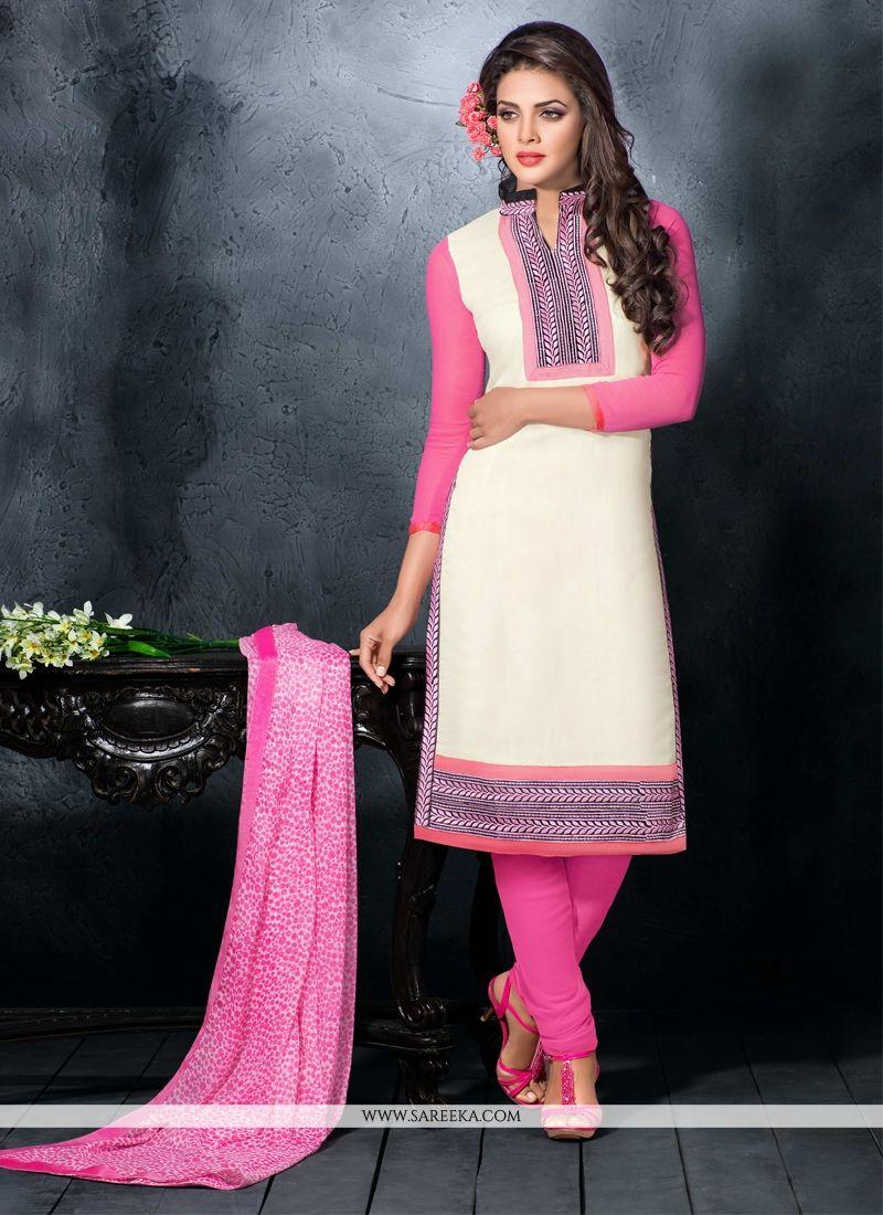 Resham Work Chanderi Cotton Churidar Designer Suit