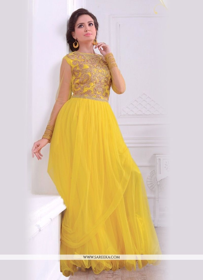 Yellow Net Floor Length Gown
