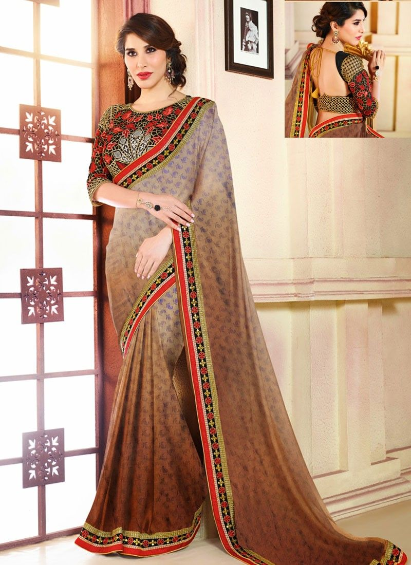 Brown And Beige Jacquard Saree