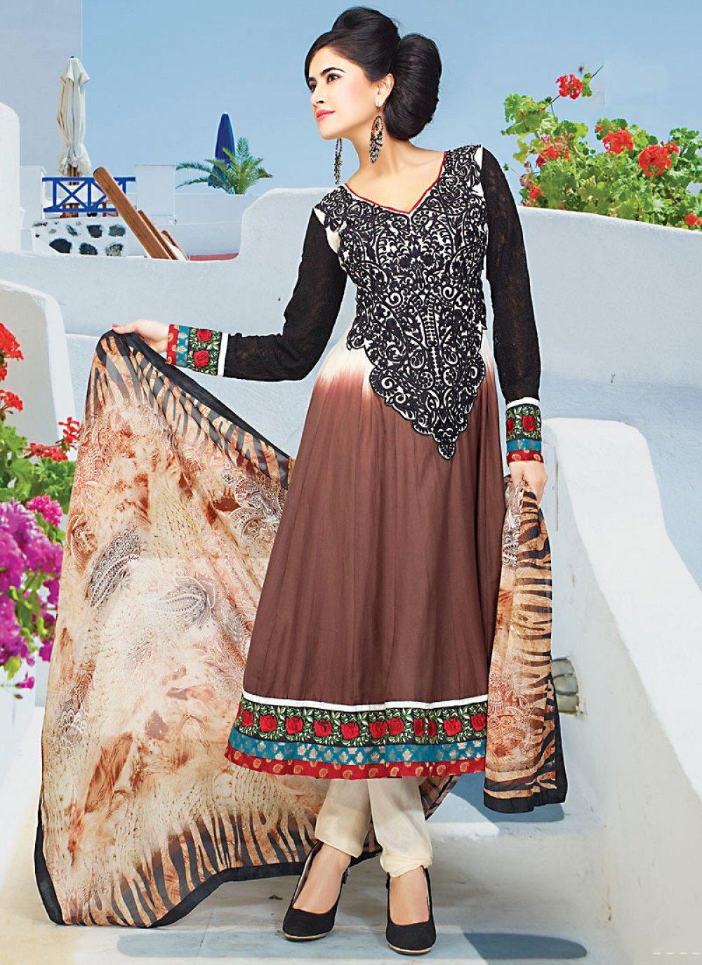 Brown And Black Faux Georgette Churidar Suit