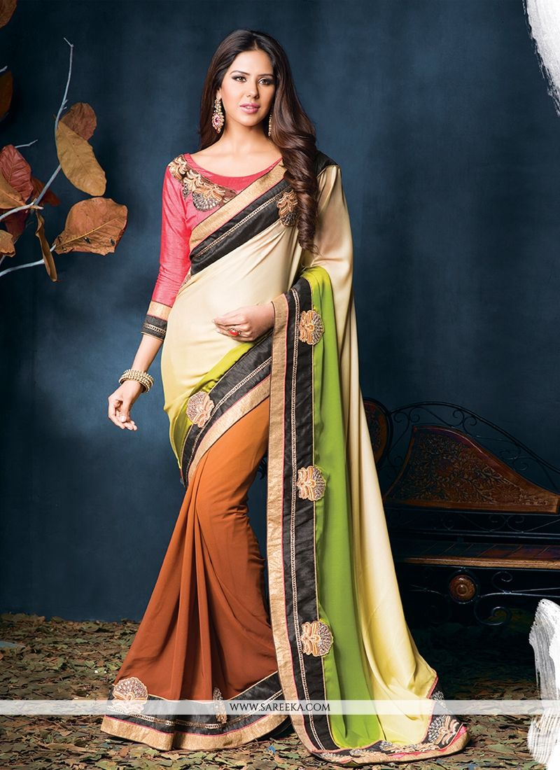 Brown And Cream Crepe And Georgette Saree