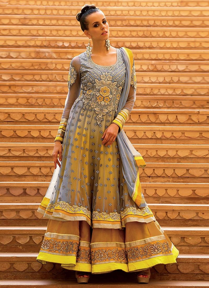 Brown And Grey Embroidery Soft Net Anarkali Suit