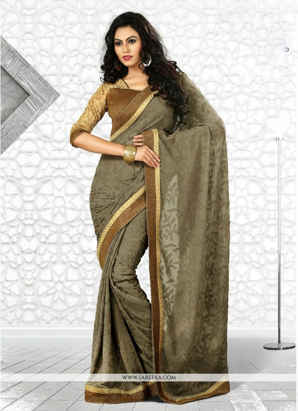 Brown And Grey Shaded Georgette Casual Saree