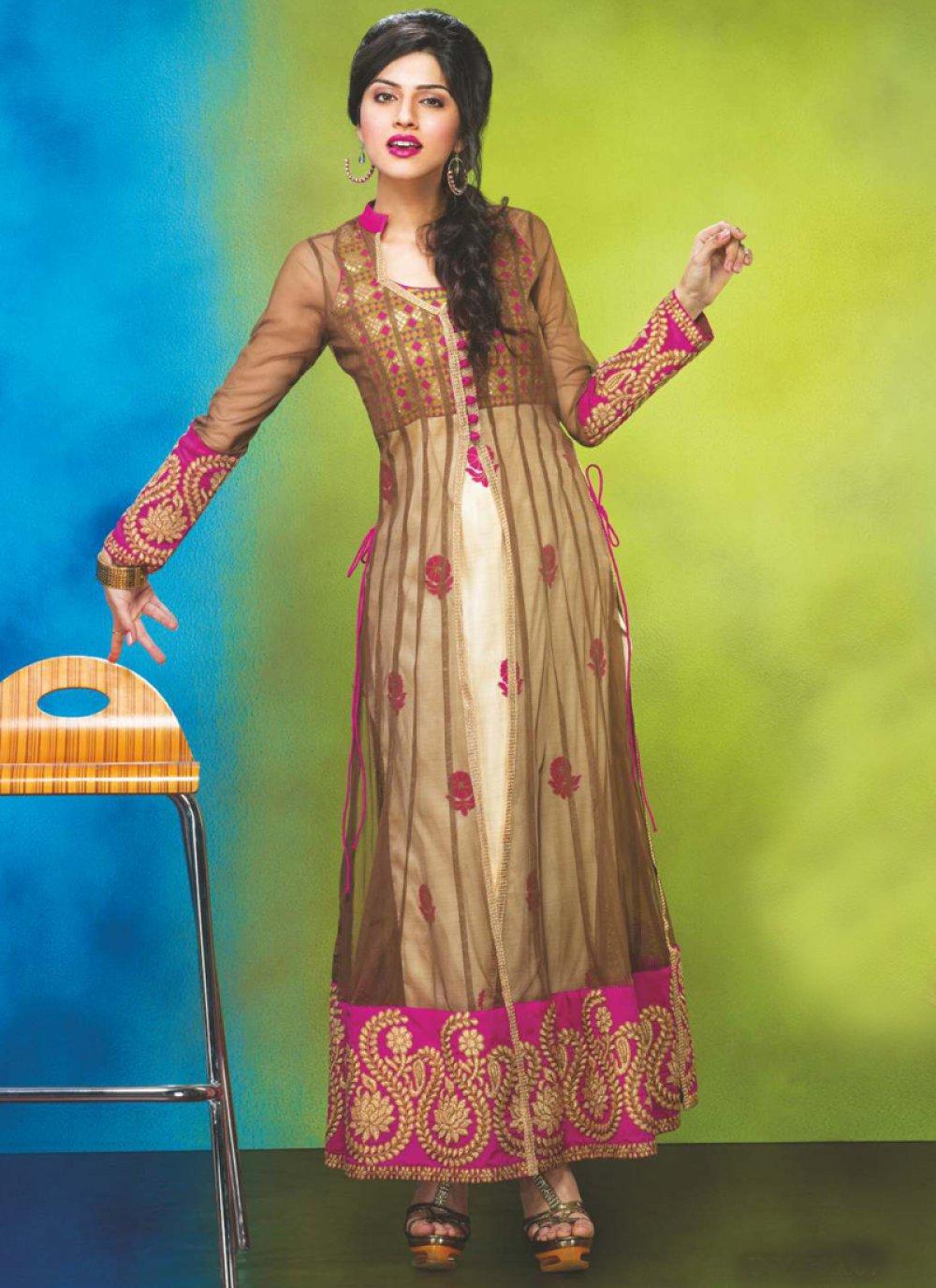 Brown And Cream Net Anarkali Suit