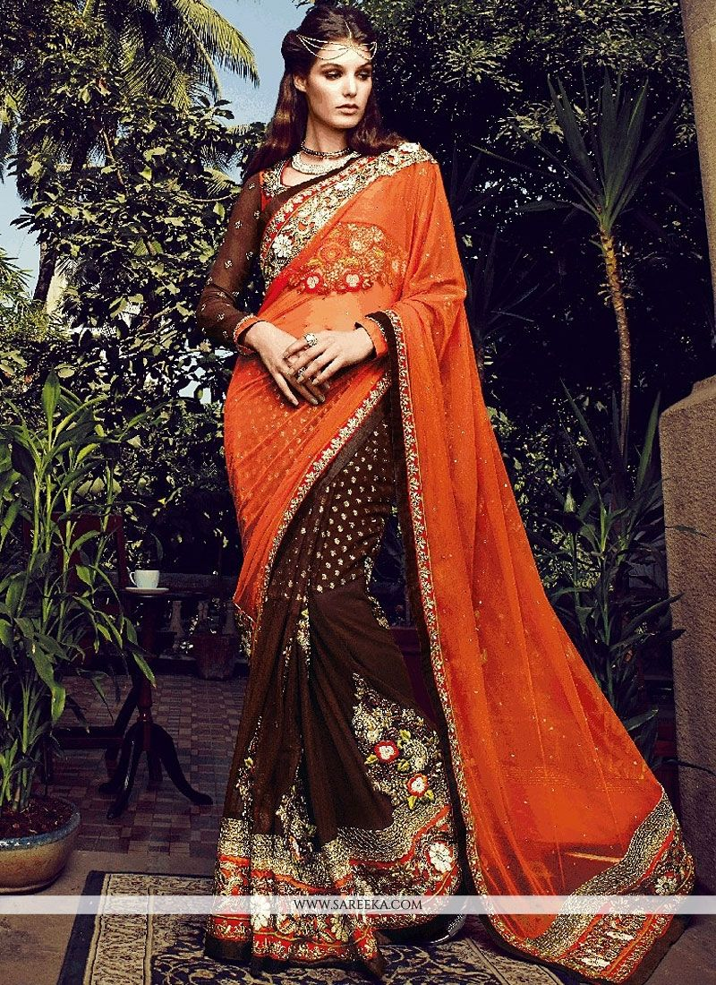Brown And Orange Viscose And Net Designer Saree