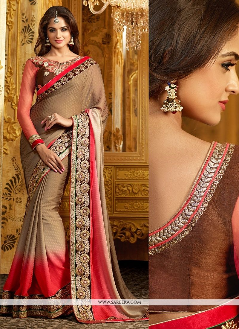 Brown And Pink Shaded Georgette Designer Saree