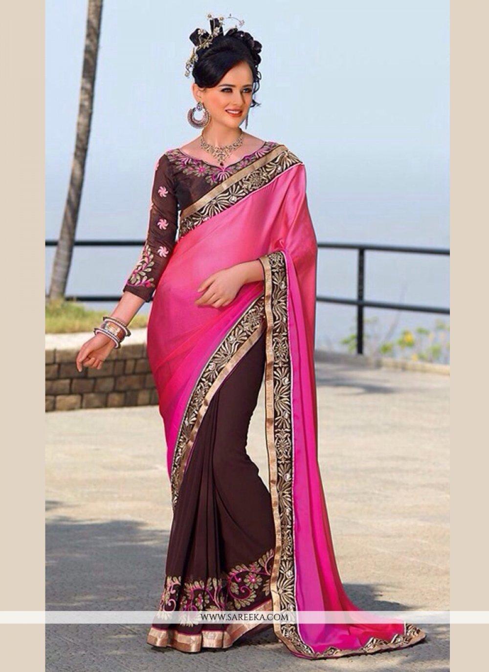 Brown And Pink Shaded Satin Chiffon Saree