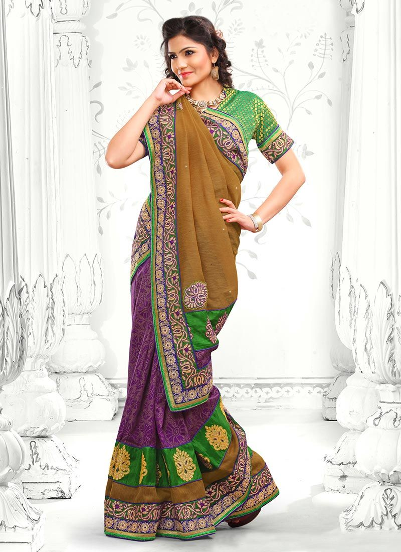 Brown And Purple Jute Silk Saree