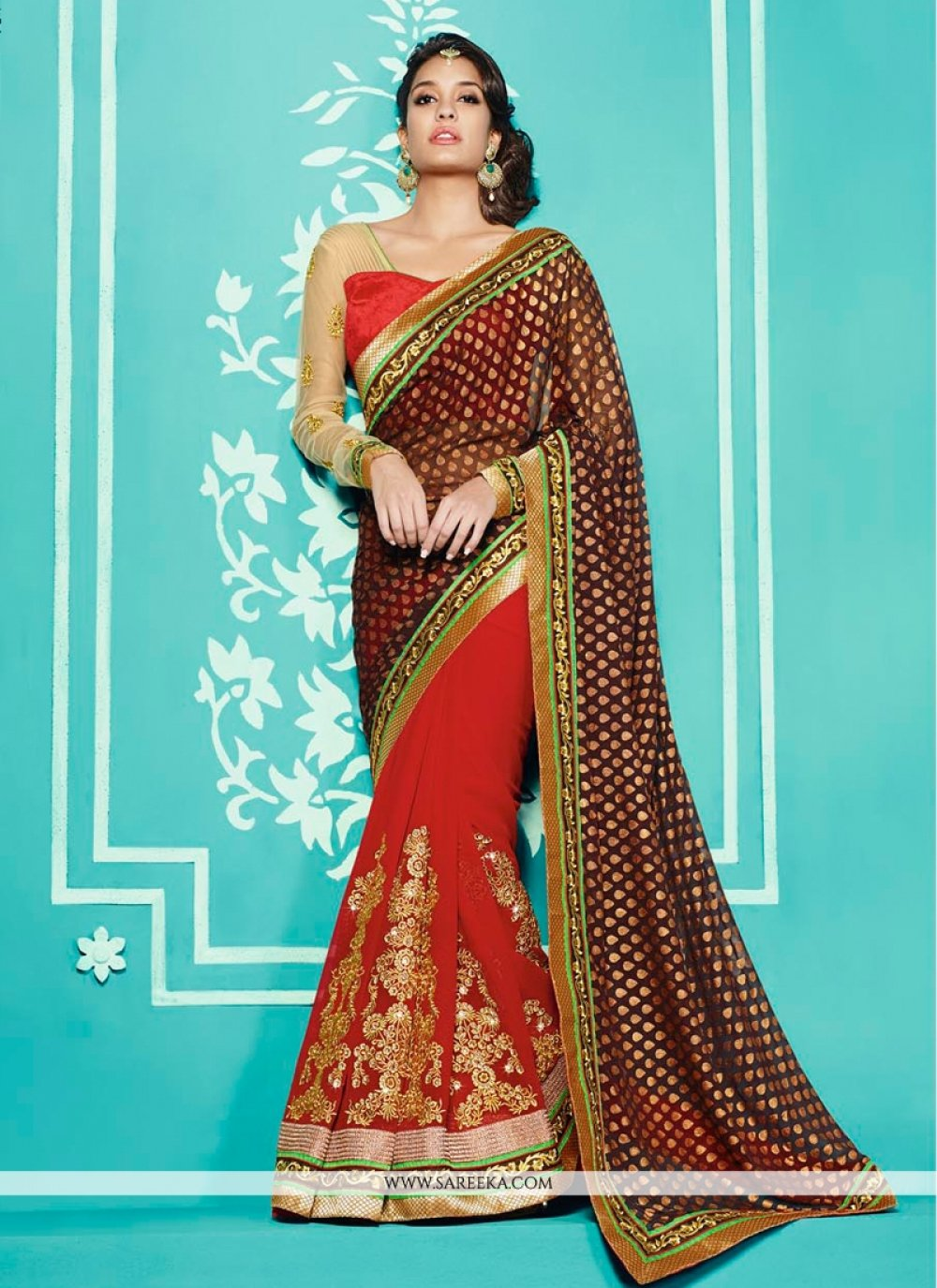 Lisa Haydon Brown And Red Georgette Designer Saree