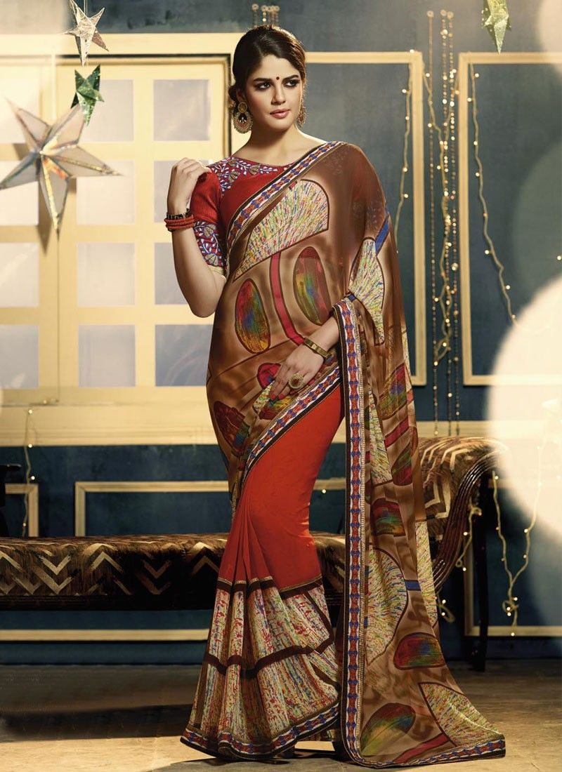 Brown And Red Georgette Party Wear Saree