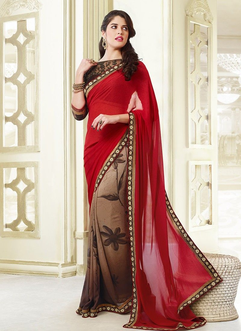 Brown And Red Patch Border Work Half And Half Saree