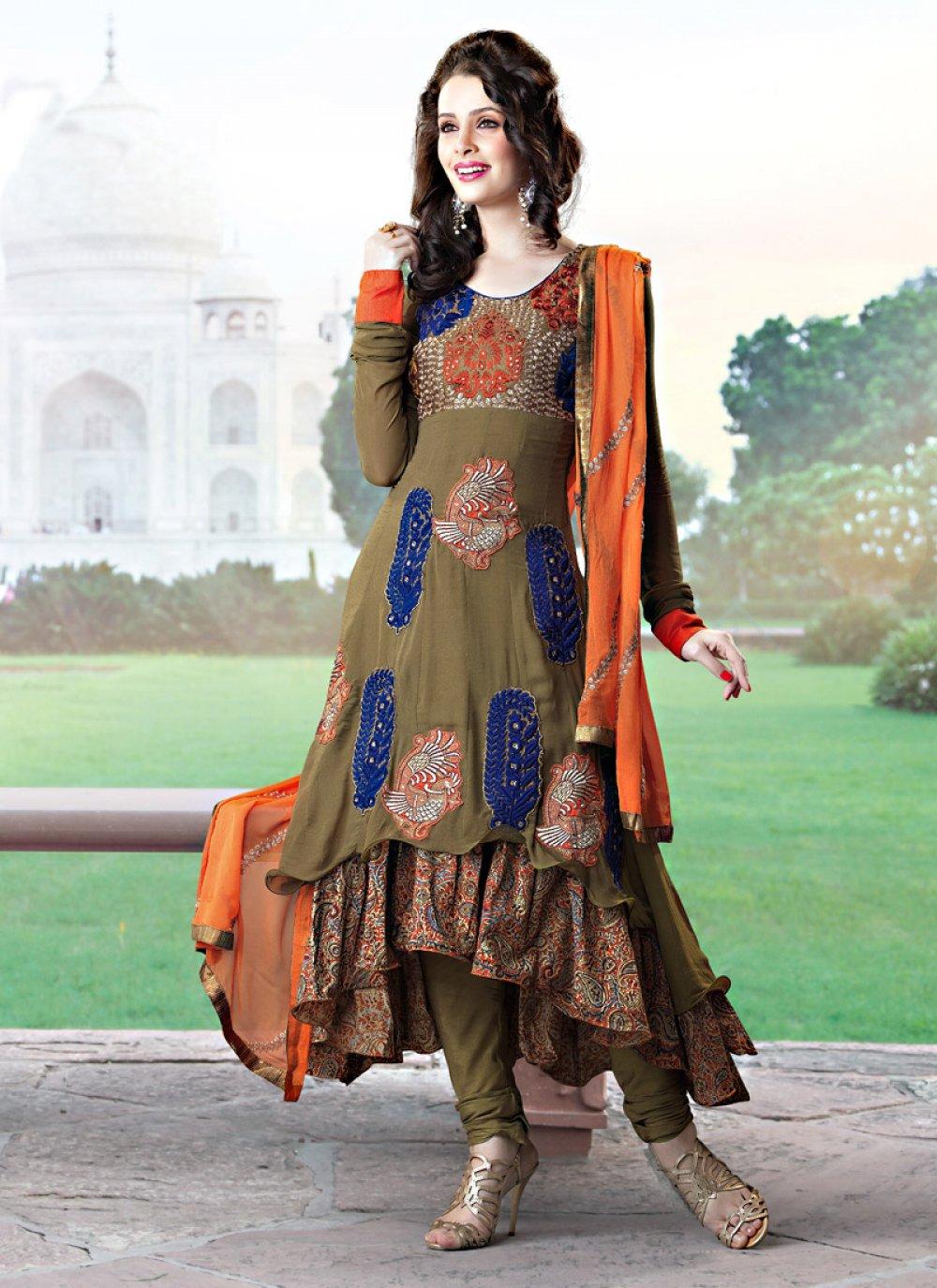 Brown Art Crepe Silk Churidar Suit