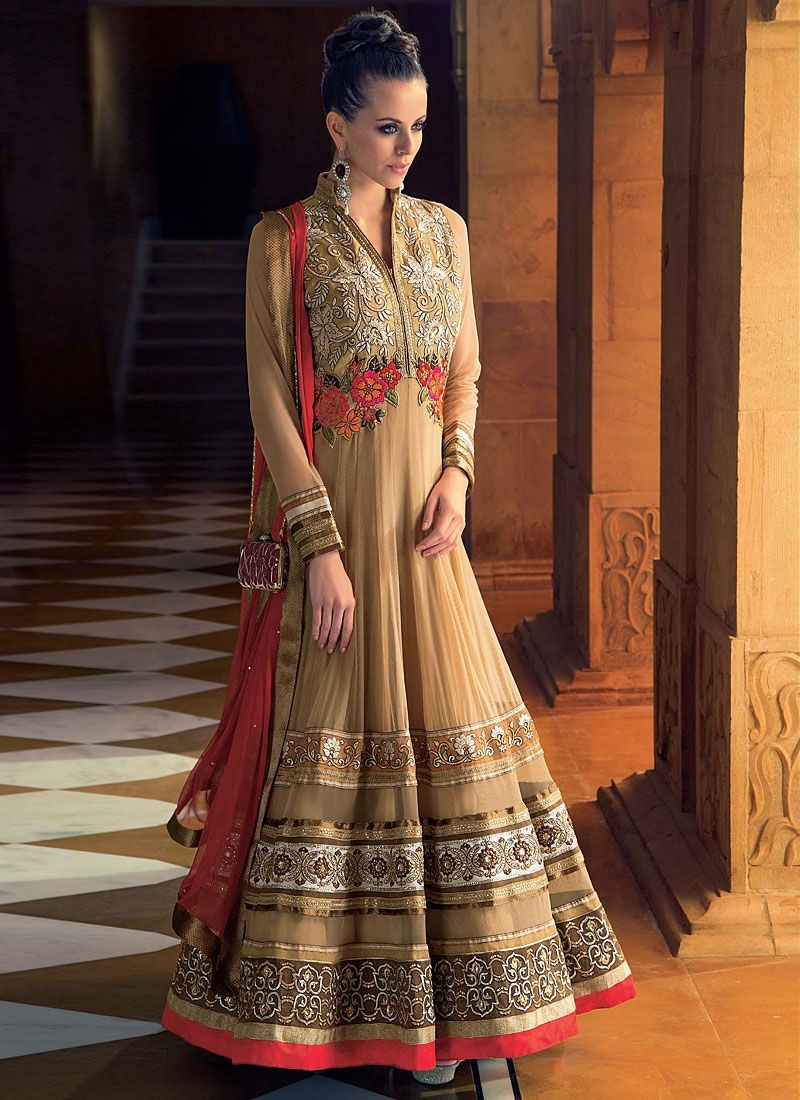 Brown Embroidery Border Work Net Anarkali Suit