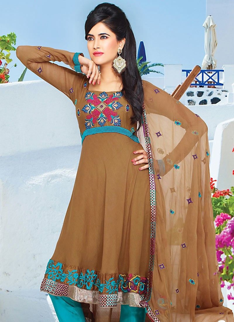 Brown Faux Georgette Anarkali Suit