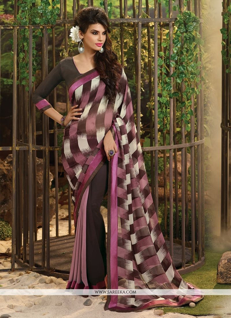Brown Lace Work Georgette Casual Saree