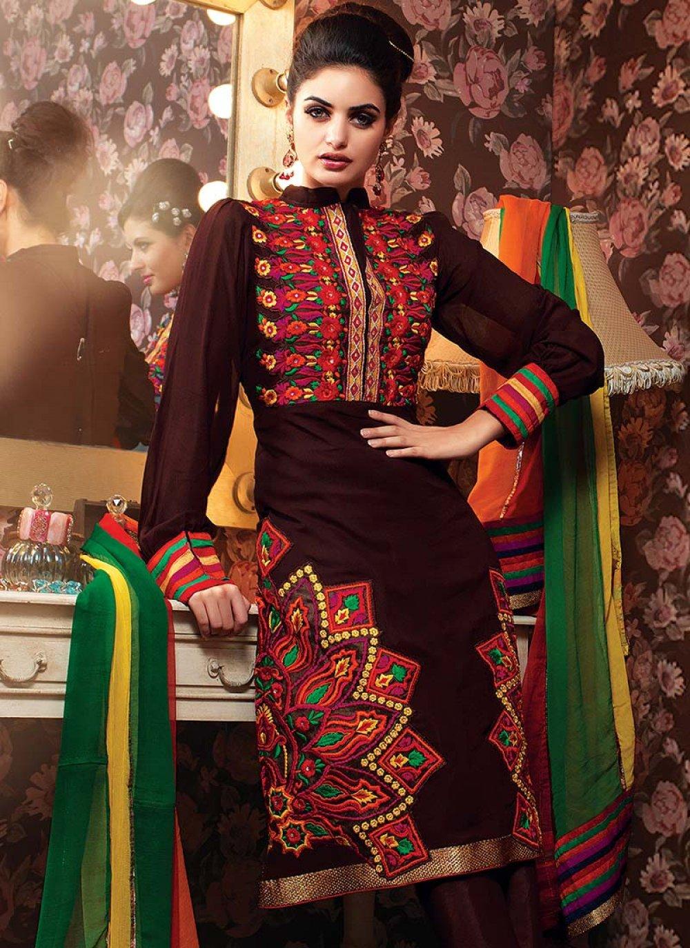 Brown Resham Enhanced Churidar Suit