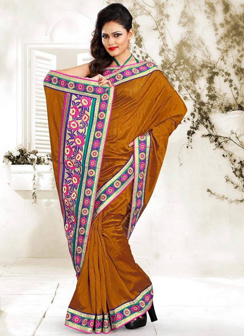 Gold Resham Work Designer Saree