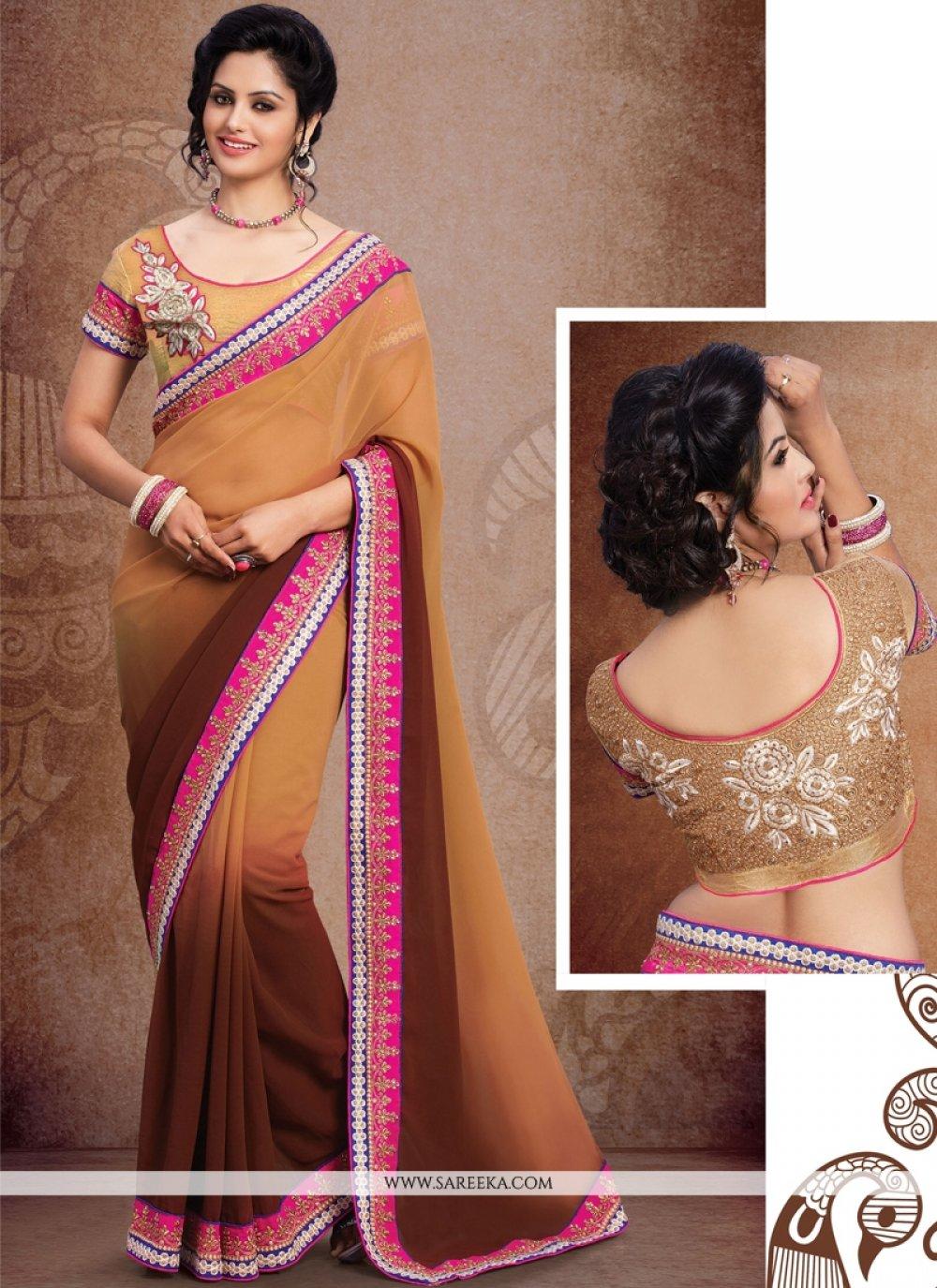 Brown Resham Work Georgette Designer Saree