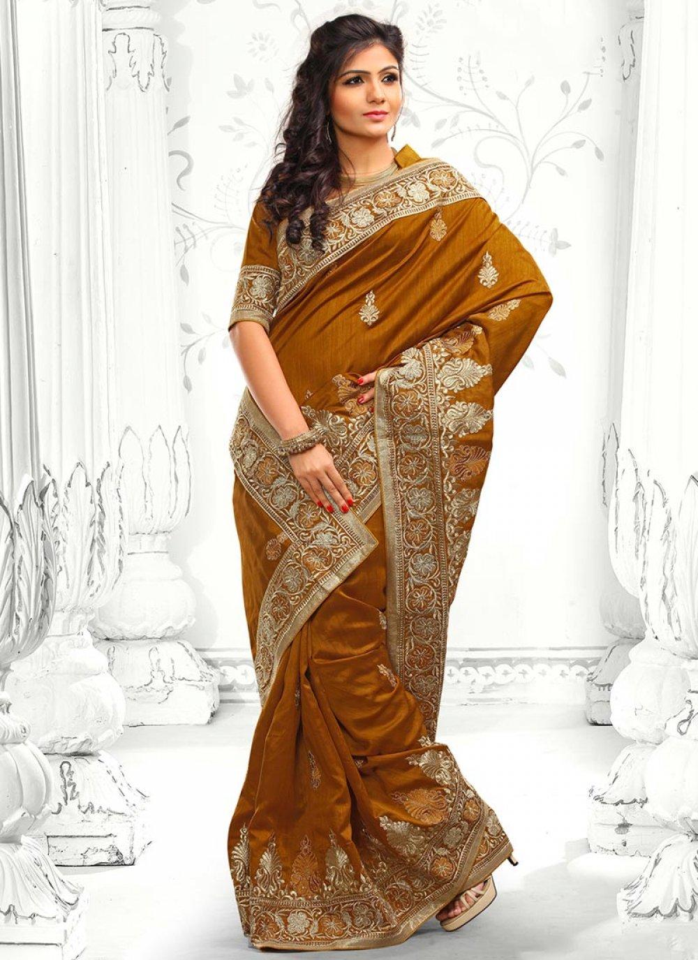 Brown Stone Work Designer Saree