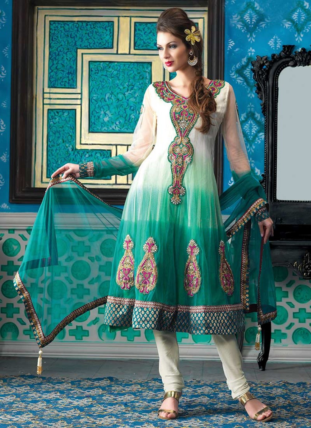 Bwitching White And Teal Net Churidar Suit