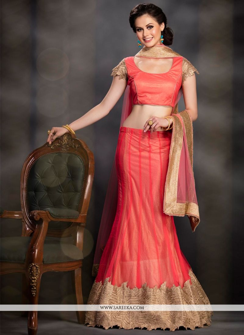 Net Orange Embroidered Work A Line Lehenga Choli