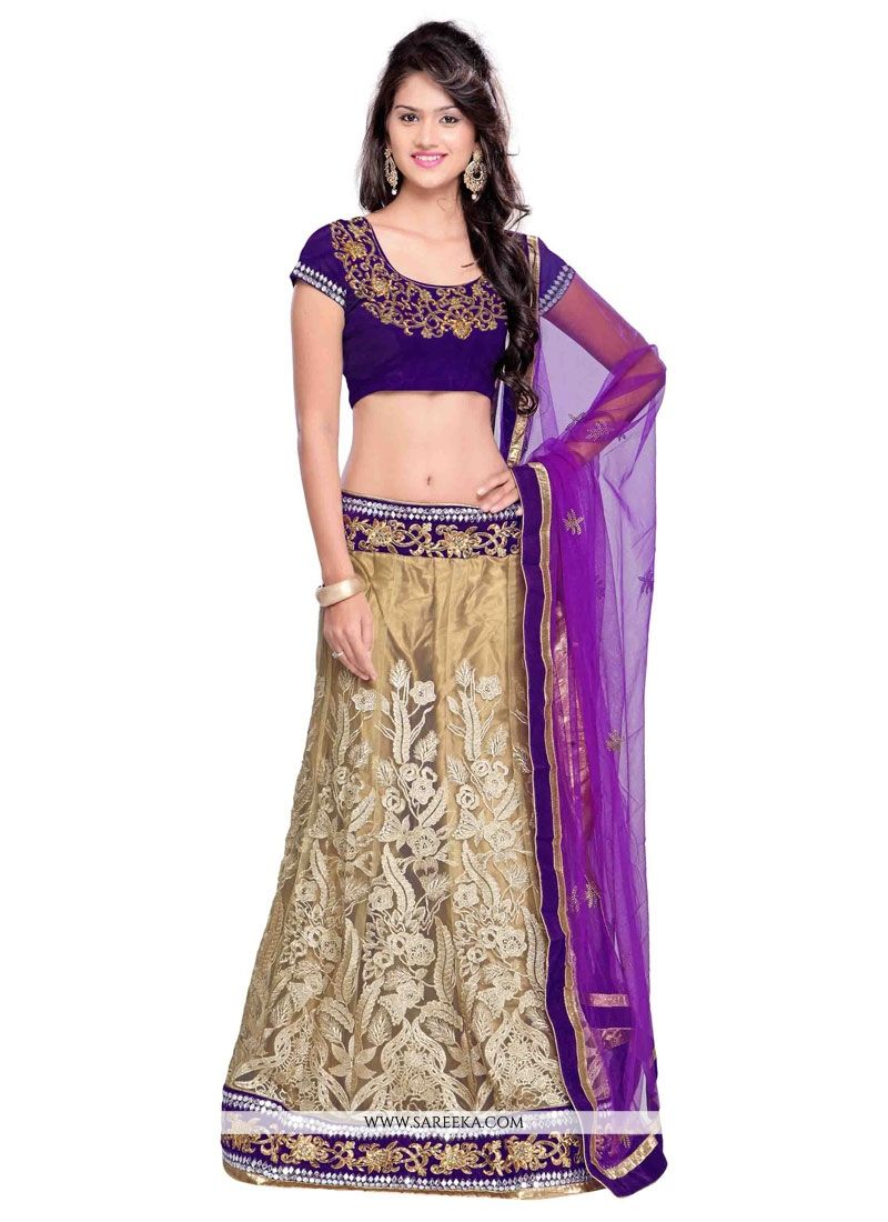 Net Purple and Beige A Line Lehenga Choli