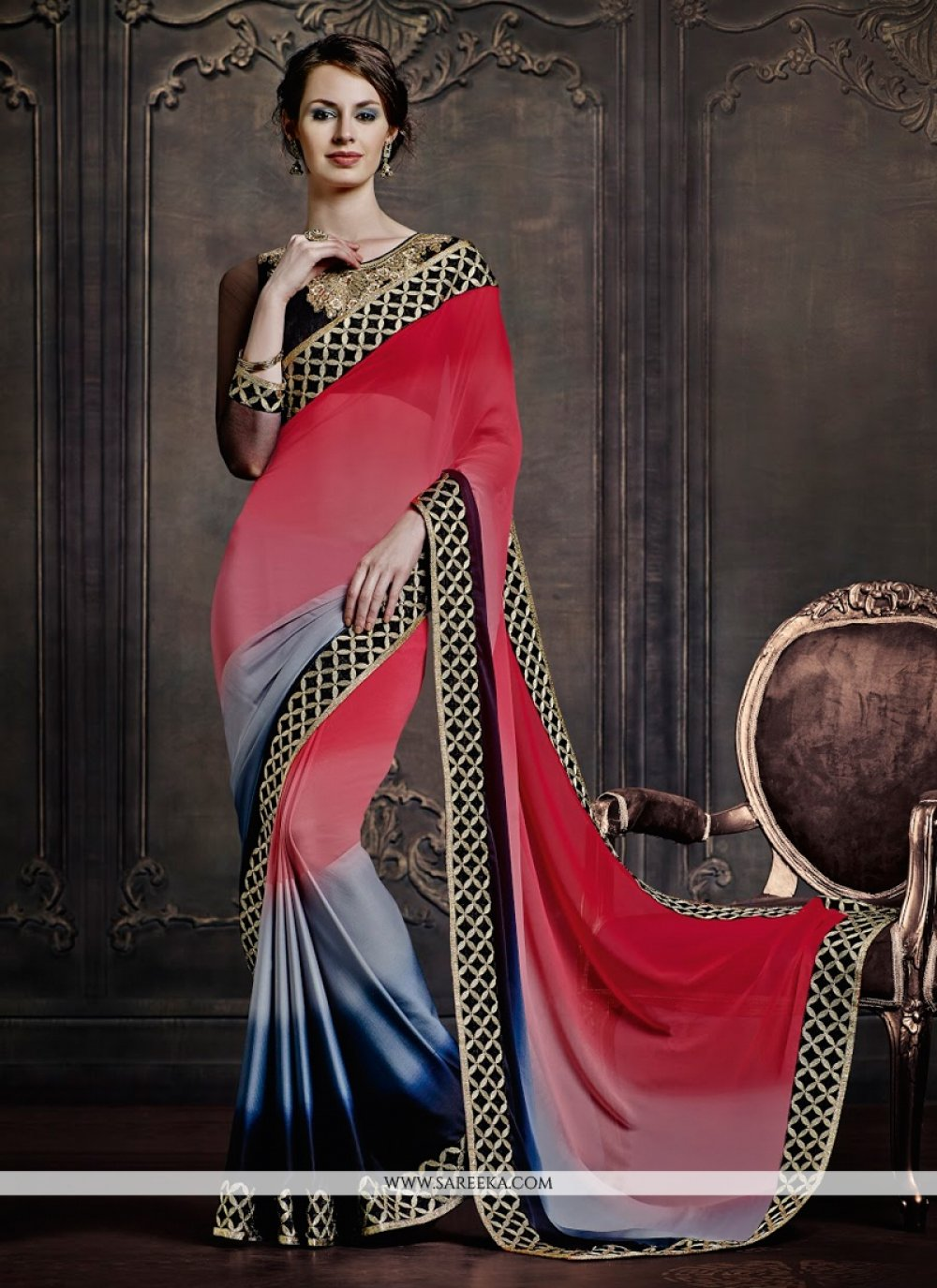 Satin Grey and Red Designer Saree