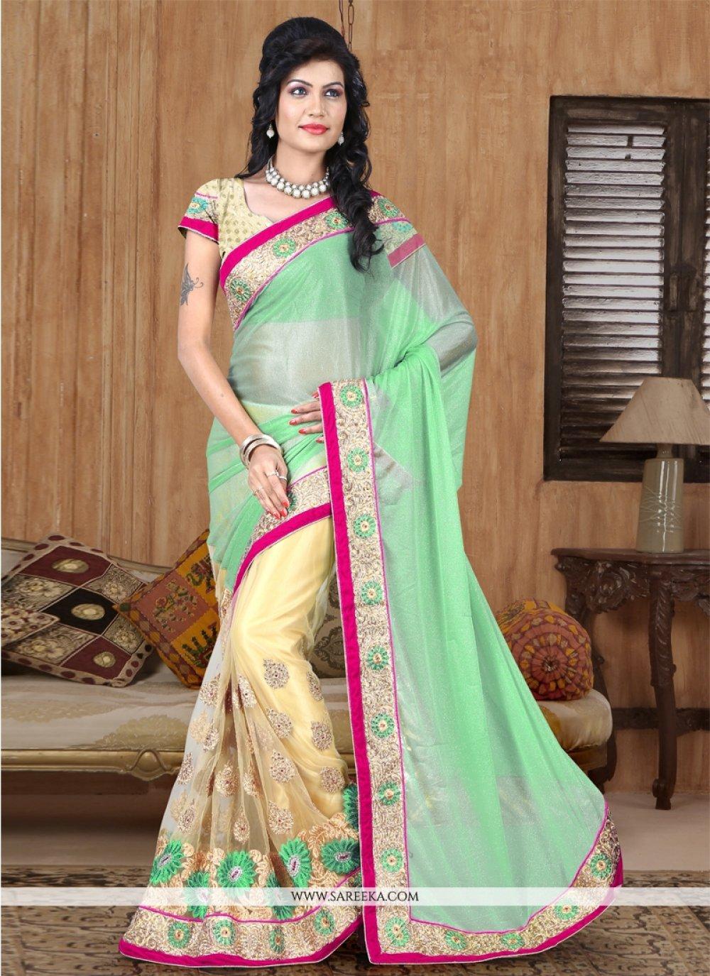 Sea Green Designer Half N Half saree