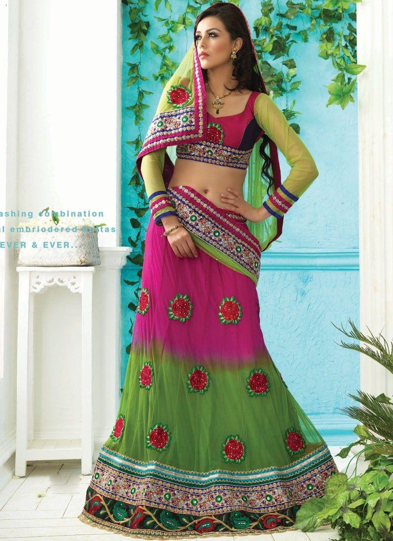 Aloe Vera Green & Deep Pink Lehenga Choli
