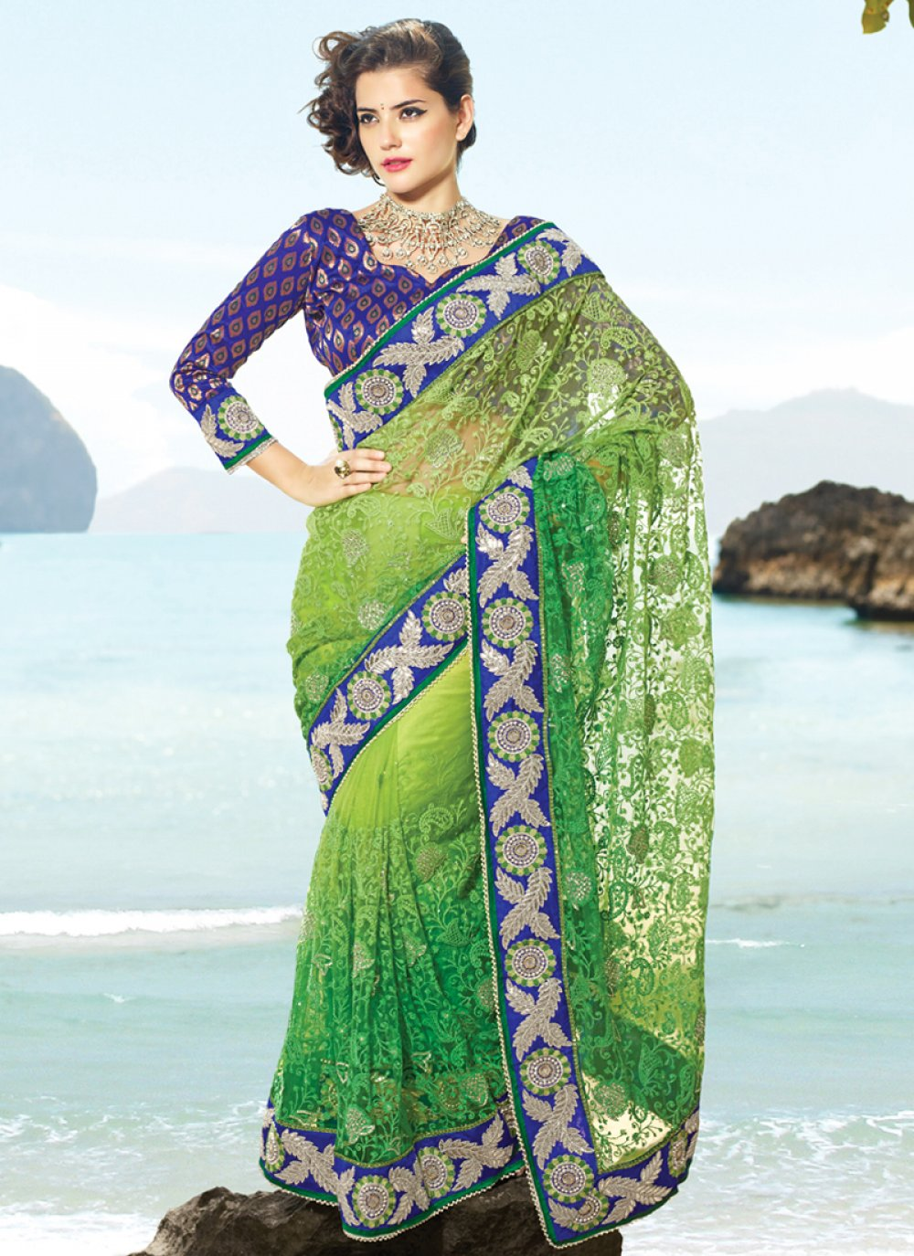Aloe Vera Green & Emerald Green Embroidered Saree
