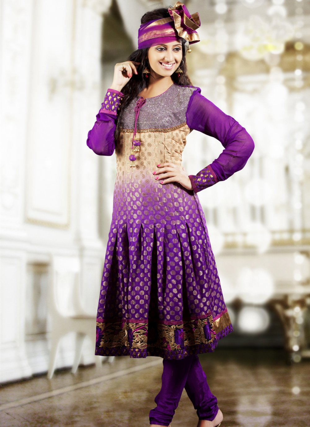 Bige Brown & Bluish Purple Salwar Kameez