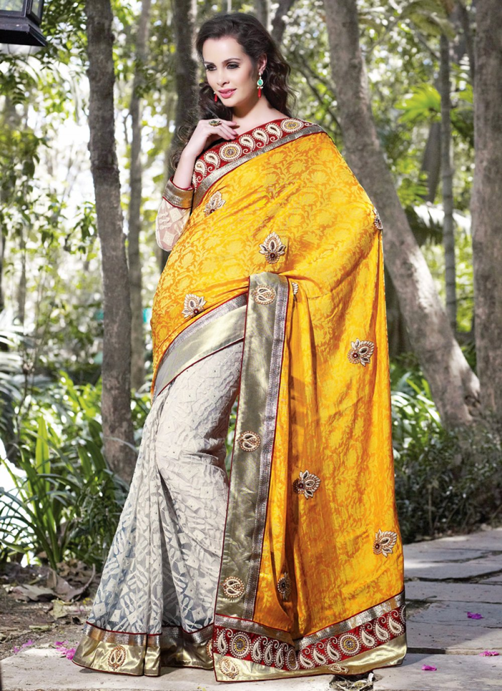 Bige Brown & Orange Embroidered Saree