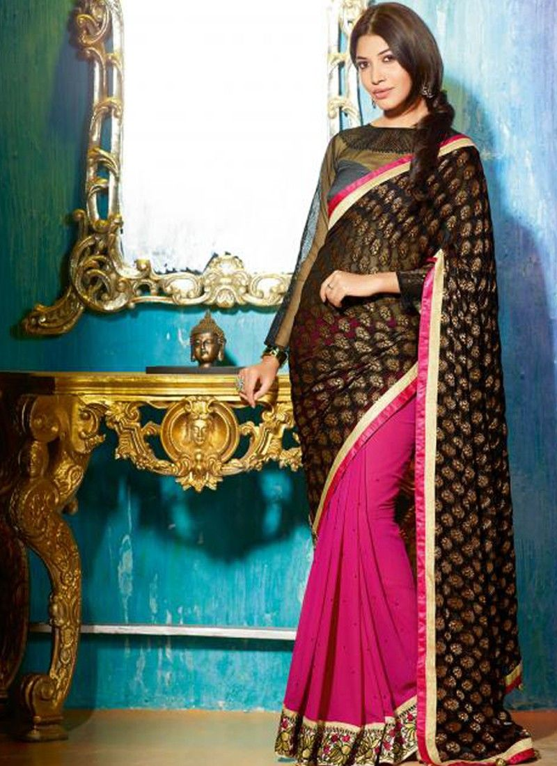 Black And Magenta Patch Border Work Georgette Saree
