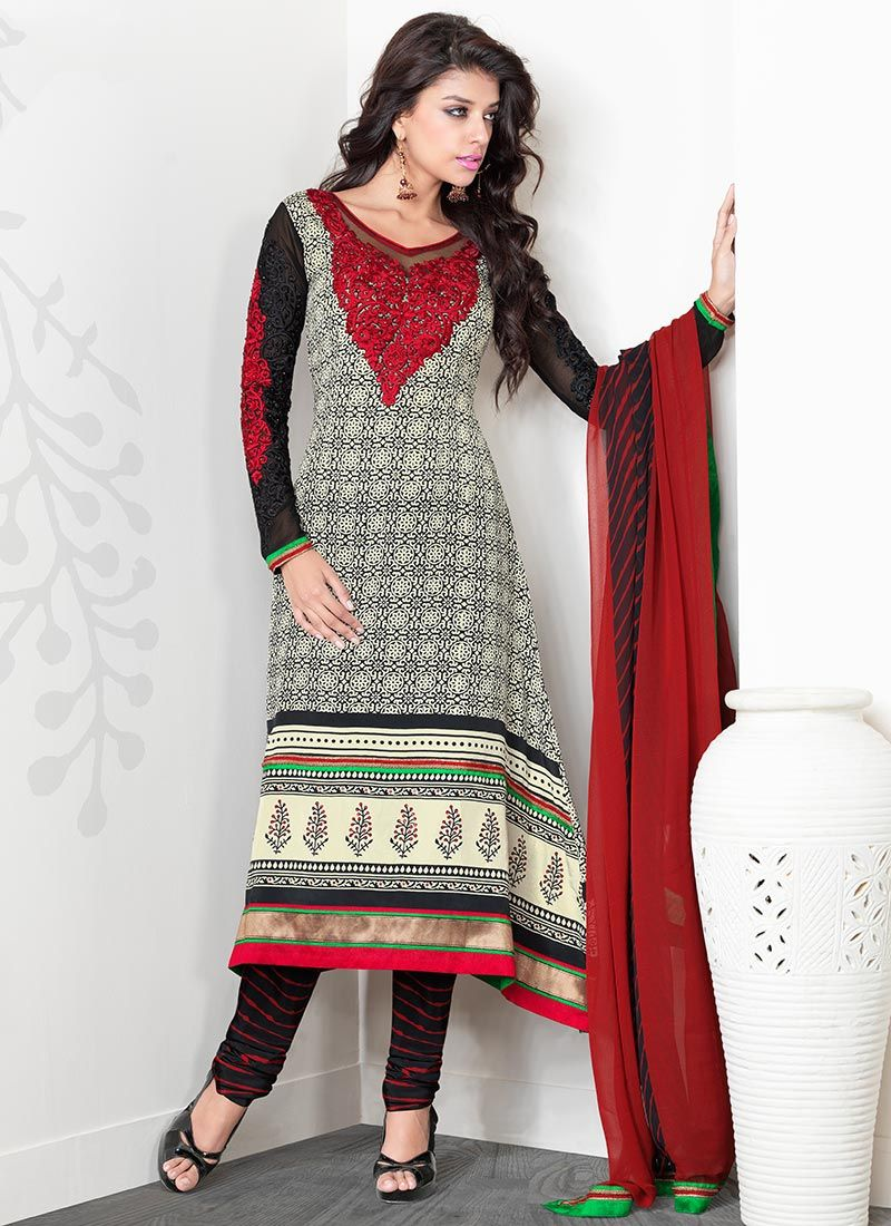 Black And Red Crepe Churidar Suit