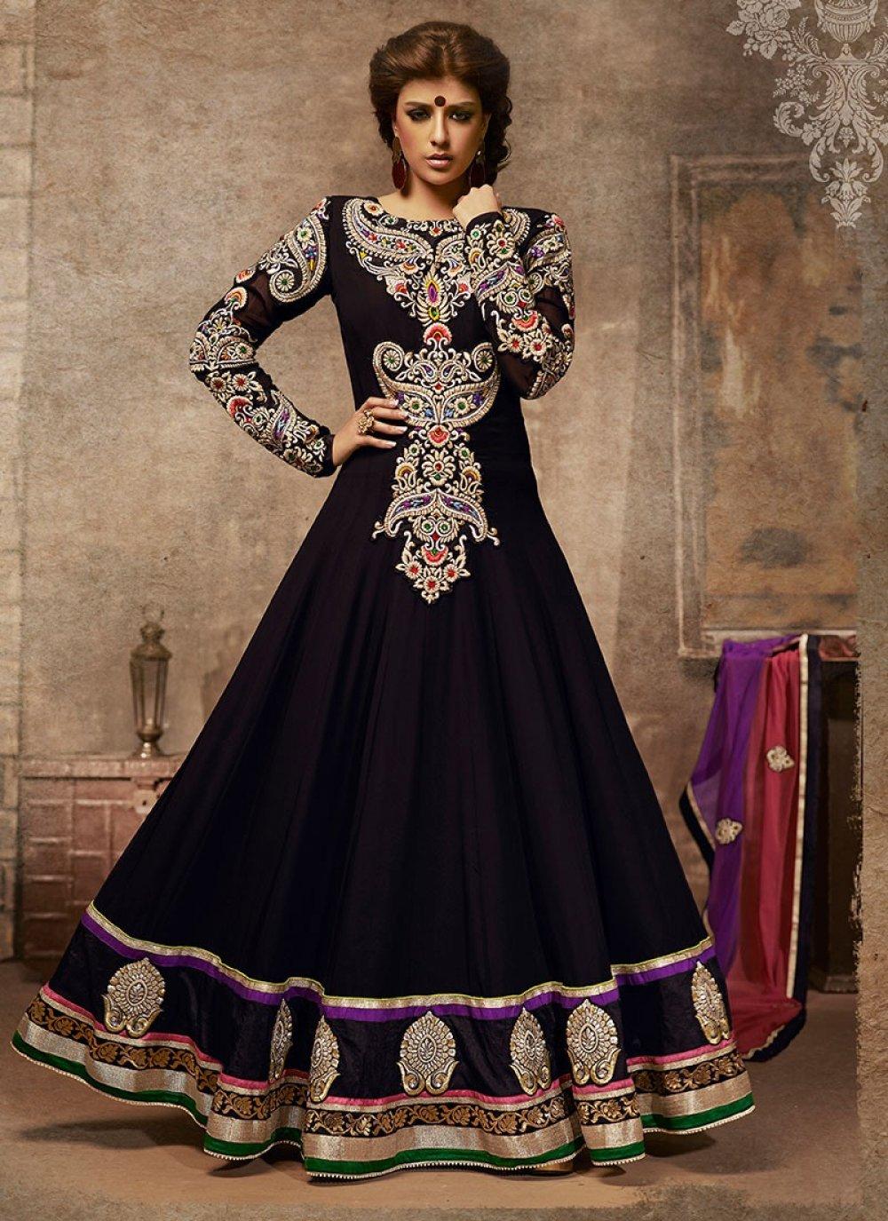 Black Patch Border Work Anarkali Suit