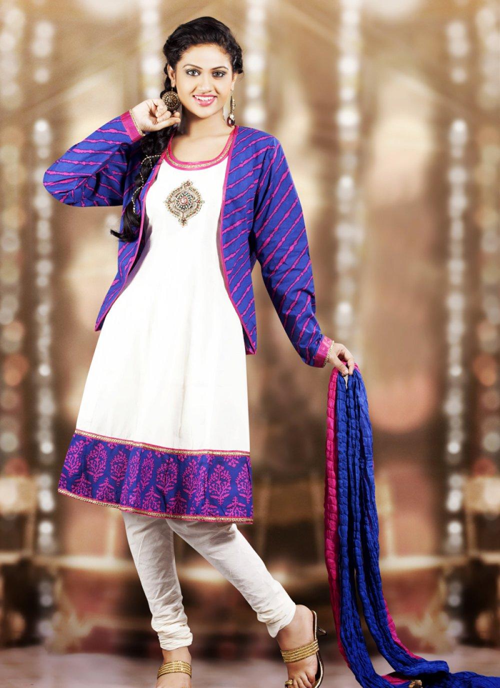Bluish Purple & White Salwar Kameez
