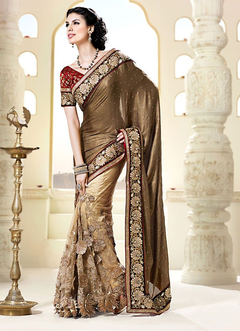 Brown Embroidered Work Net Half And Half Saree