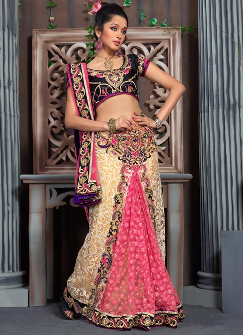 Cream And Pink Applique Lehenga Saree