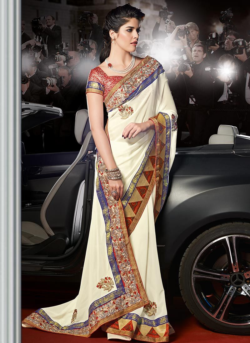 Cream Embroidered Georgette Saree