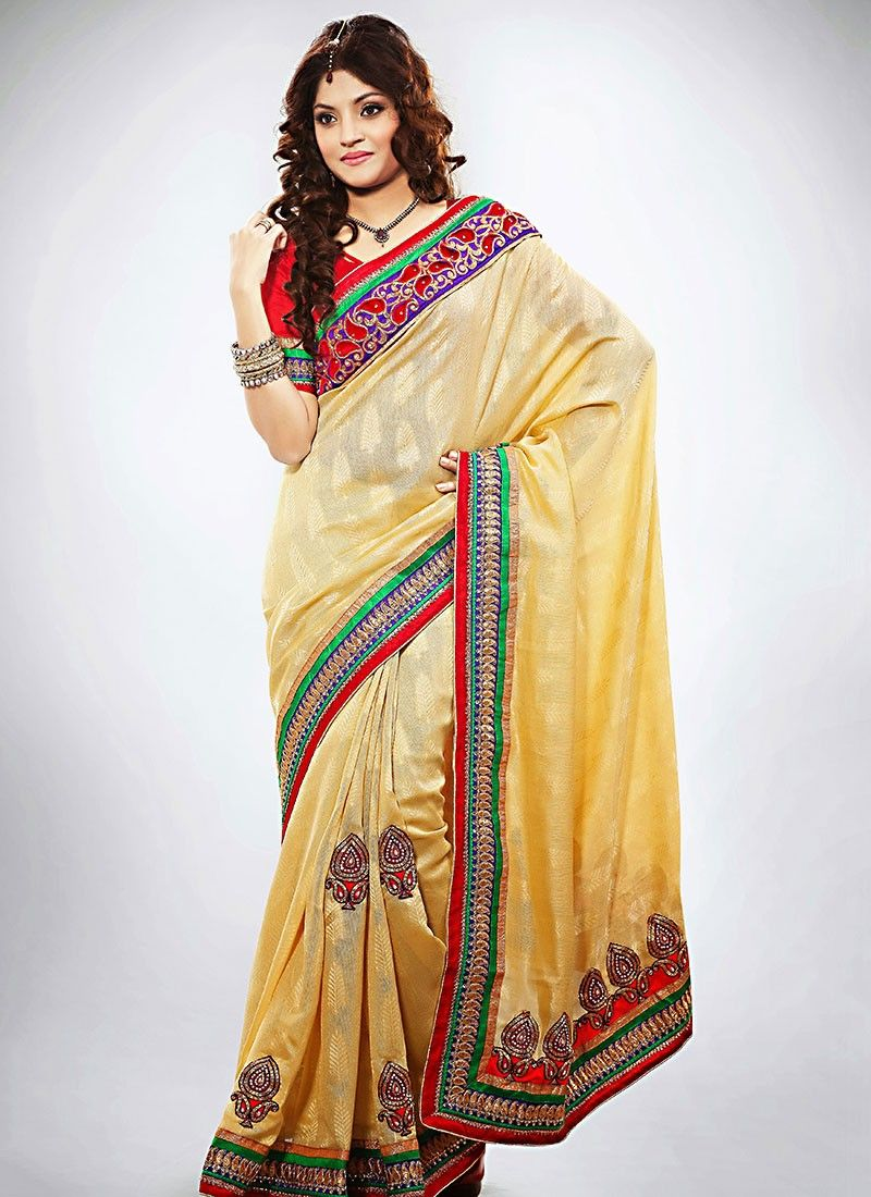 Cream Jacquard Designer Saree