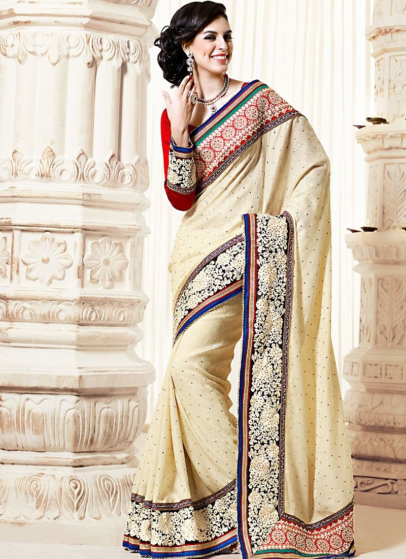 Cream Pure Jacquard Saree