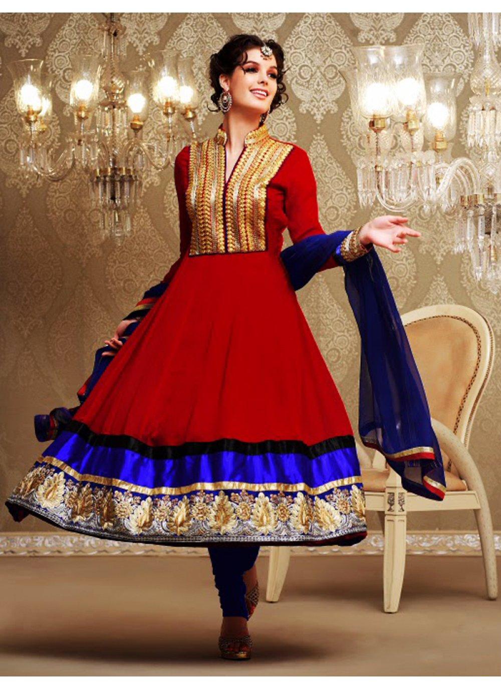 Crimson & Deep Blue Anarkali Suit