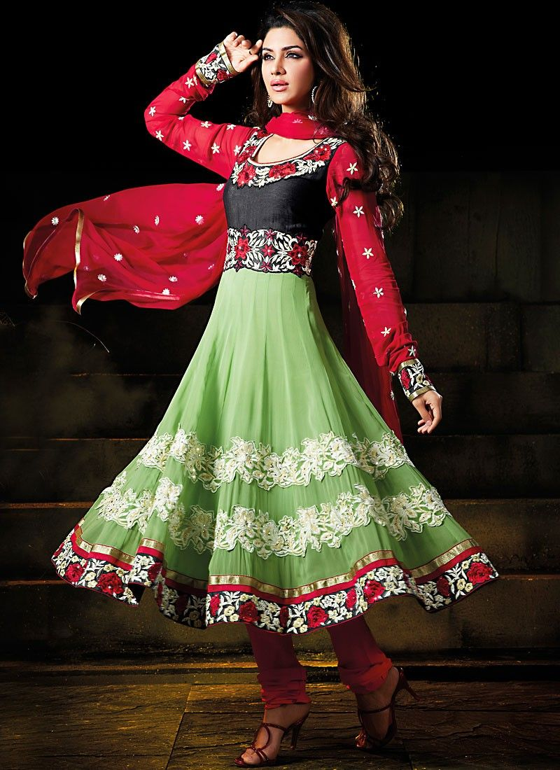 Crimson & Honeydew Anarkali