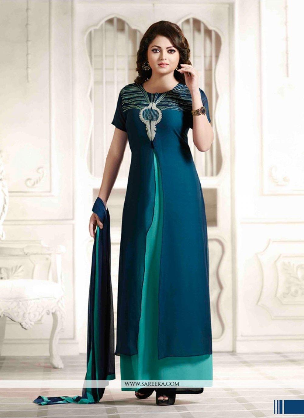 Georgette Blue Anarkali Salwar Kameez
