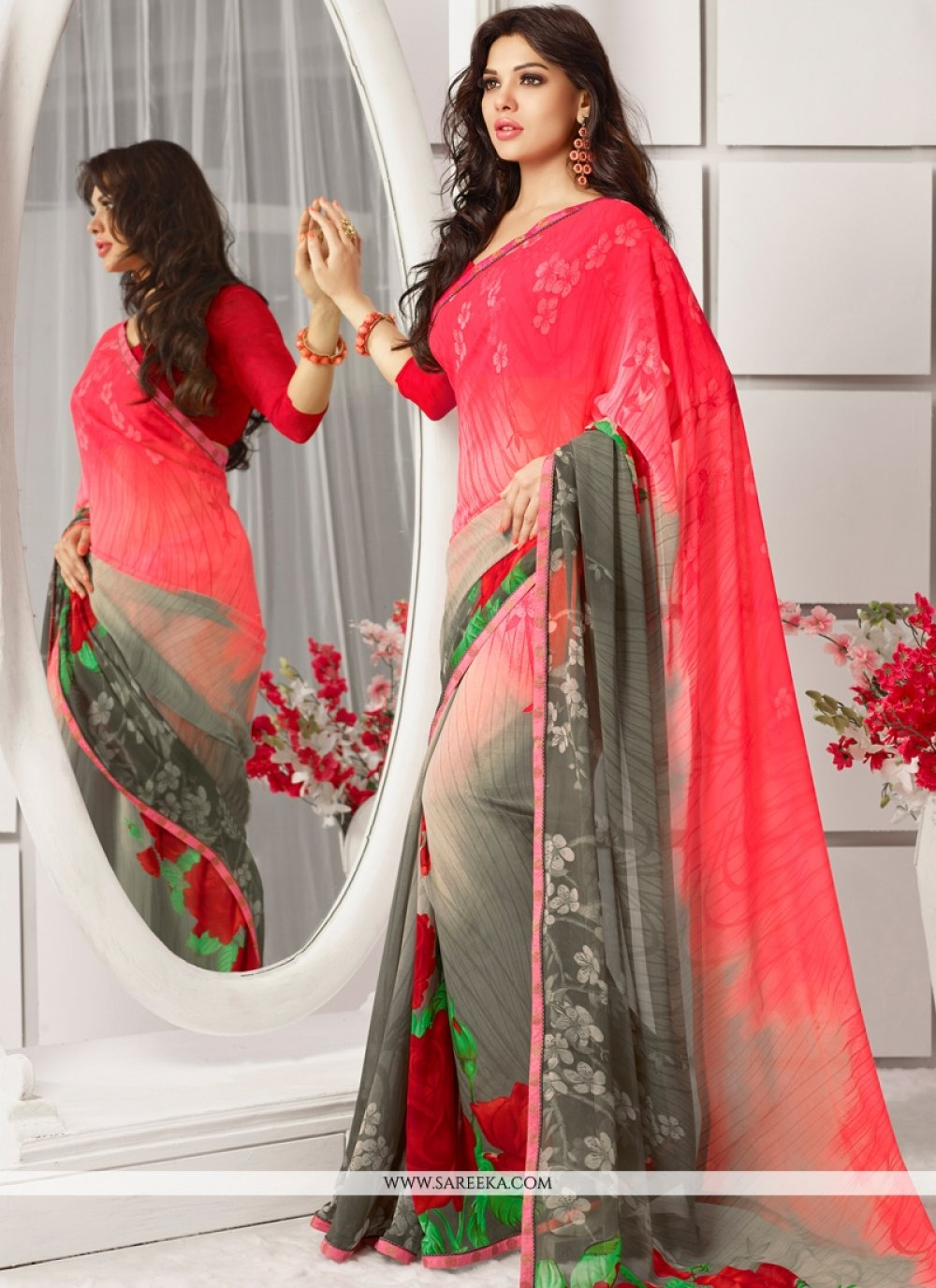 Georgette Grey and Hot Pink Casual Saree