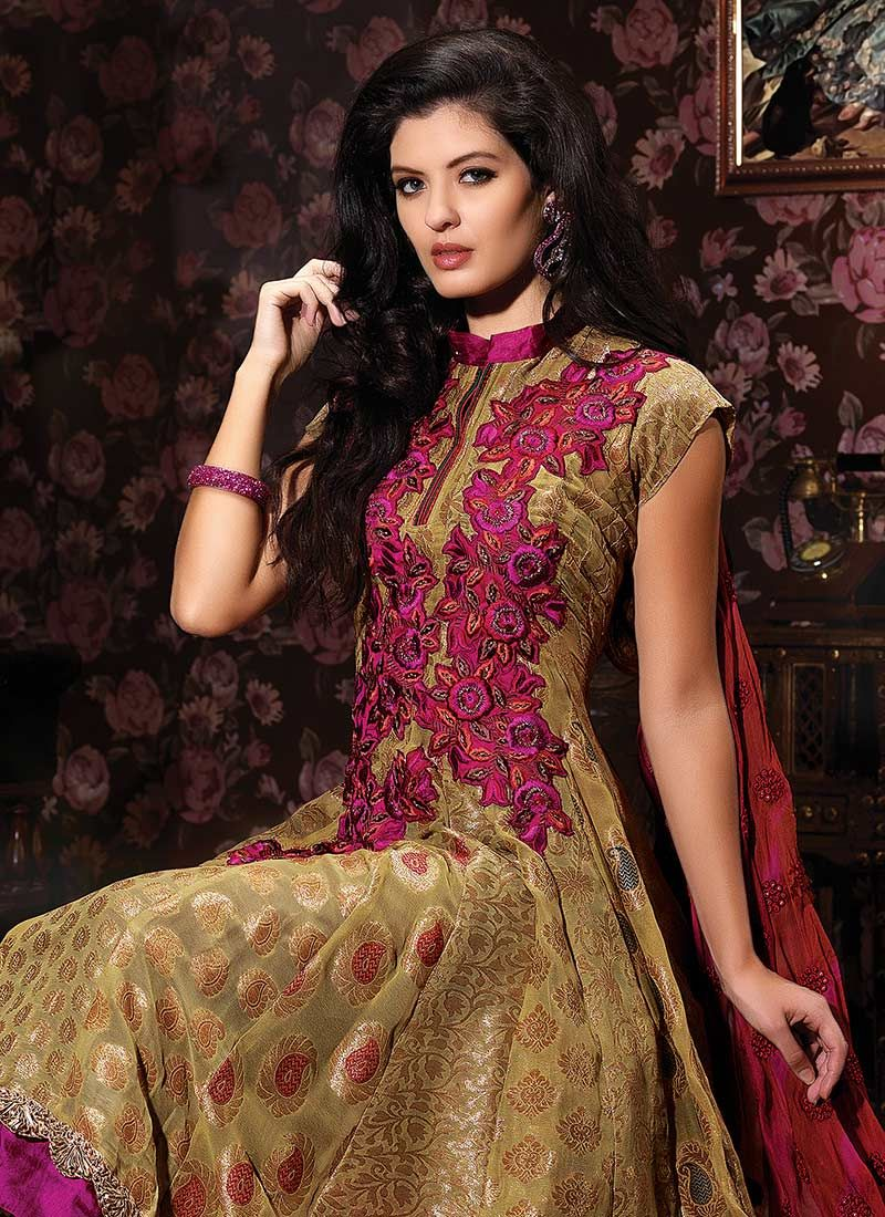 Georgette Jacquard Churidar Suit
