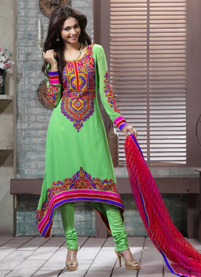 Honeydew Churidar Suit