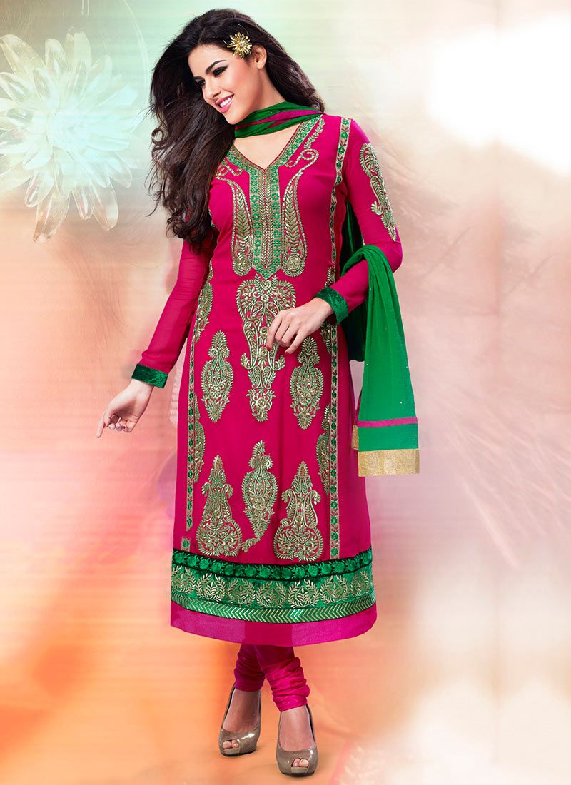 Hot Pink Georgette Churidar Suit